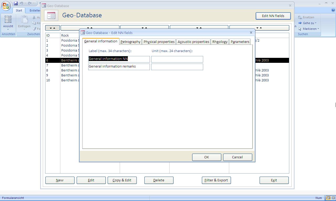 Microsoft access programmierung einer geo datenbank