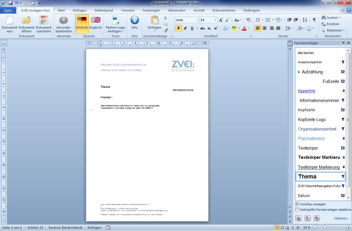 eWorks | Referenz | Entwicklung Word-Vorlagen für Geschäftskorrespondenz