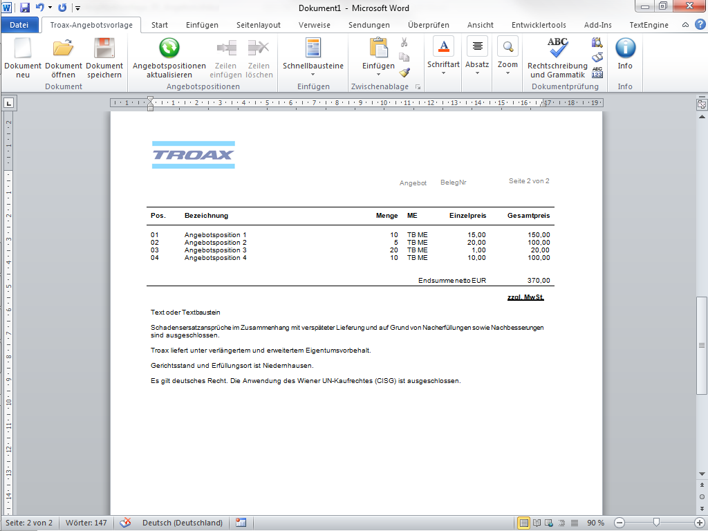 eWorks | Referenz | Programmierung einer Word-Vorlage für Angebote