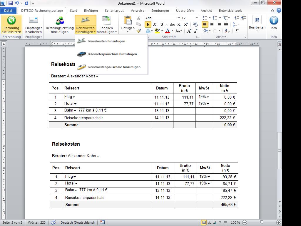 Eworks Referenz Programmierung Einer Word Vorlage Für Rechnungen