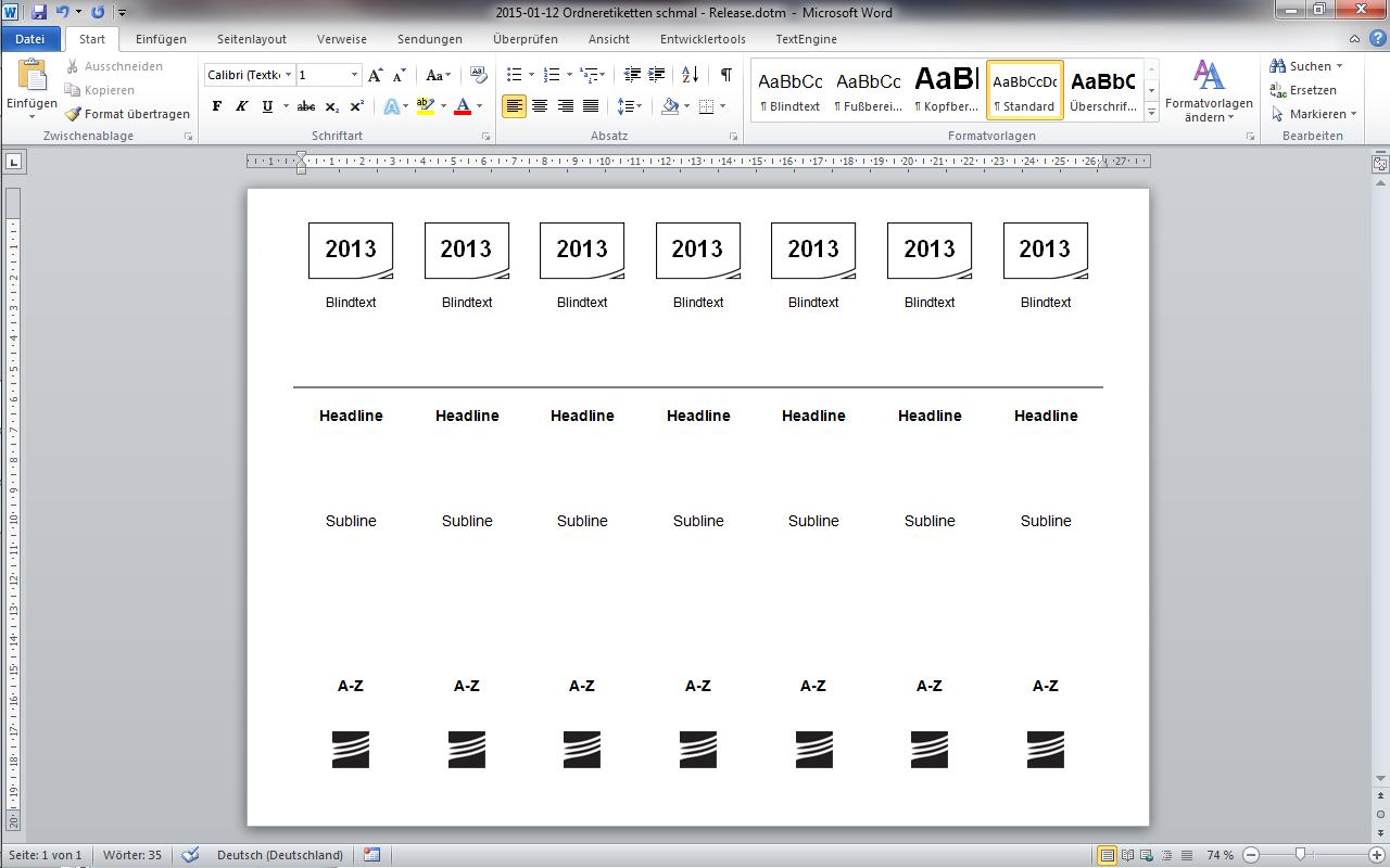 eWorks   Referenz   Erstellung von Wordvorlagen zum Etikettendruck
